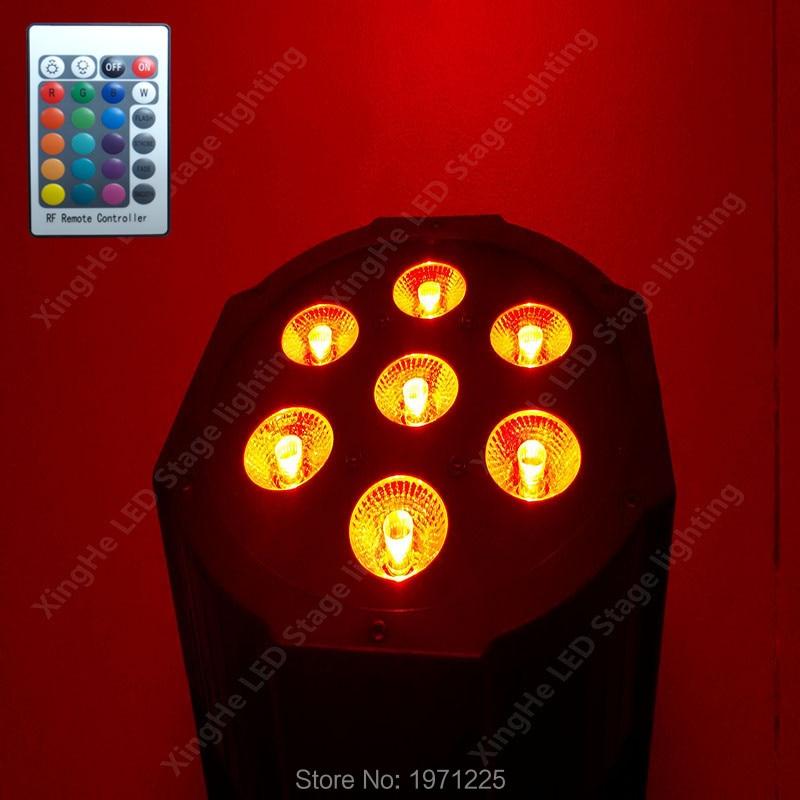 Wireless remote control 7X12W RGBW 4in1 Cree LED led flat par light DMX512 Club DJ Stage Light<br>