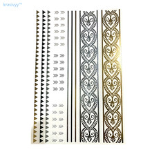 2017 new fashion DIY Flash Tattoos Gold Silver Metal Temporary Tattoos Golden necklace hair Tattoo Wholesale makeup for girl boy
