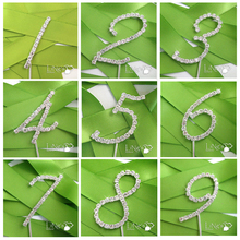 MEIDDING Wedding Romantic Crystal Rhinestone Cake Toppers Number 0-9 Crystal Cake Wedding DecorationS Birthday Party Supplies(China)
