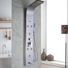 Brushed Nickel Shower Set Waterfall Rain Tub Shower Column Panel with Hand Shower Digital Temperature Display Power by Battery