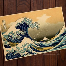 The Great Wave off Kanagawa Room Paper Vintage Kraft Decorative Poster DIY Wall Sticker Delicate Home Bar Decor Gift