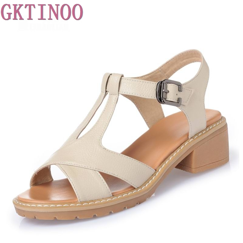 Summer Genuine Leather Shoes Women Sandals Peep Toe High Heels Real Leather Sandals Soft Ladies Shoes<br>