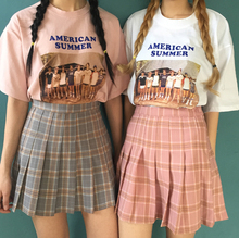 Sexy Cute Girls Preppy Style Paid Checks Mini Pleated Skirt Empire Waist JK Short Skirt Color Pink & Grey