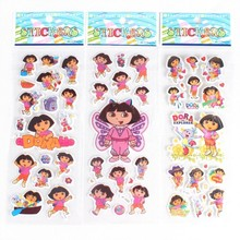 10 pcs / lot .(7 * 17 cm) Dora Stickers Party Supplies Dora the Explorer kids Cute Cartoon wall Stickers Puffy Bubble Toys(China)