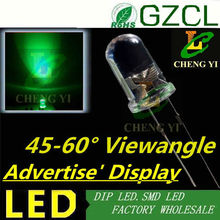 Ultra brightness 20000mcd led light box 5mm pure green dip led diode 45-60 degree view angle(CE&Rosh)
