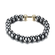 Hot Sale Men's Power Dumbbell Jewellry 8mm No Magnetic Hematite Beads with Alloy Metal Fitness Barbell Charm Bracelets