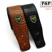 Widen Electric Guitar Strap Crocodile Snake Skin Embossed Black/Yellow/Silver/Red PU leather Acoustic Guitar Belt Bass Strap(China)