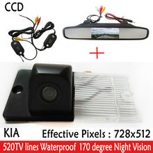 HD CCD 2.4G Wireless RearView CAR Camera Mirror Monitor Car Reverse Backup HD Parking Camera Wide Angle for KIA SORENTO SPORTAGE