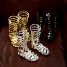 Fashion Baby Girl Sandals Cut-Outs Hollow Roman Sandals Children Knee Boots Gladiator Kid Flat Glitter Star PU Shoes