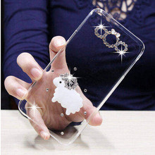 New 3D little sheep bling flower Crystal diamond Cell Phone Shell back cover hard case For Samsung Galaxy Grand 2 G7106 G7102(China)