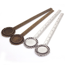 4Pcs/lot Vintage Metal Zinc Alloy Cameo Ruler Bookmarks 20mm Round Cabochon Settings Jewelry Bookmarks Blank Charms C8516(China)
