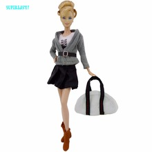 Preppy Style Office Lady Outfit Fashion Costume Gray Jacket Vest Skirt Boots Shoes Handbag Bags Clothes For Barbie FR Doll Gift