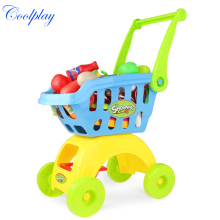 Coolplay CP1805 Children Play House Toys Simulation Supermarket Shopping Cart Mini trolleys with Fruit Vegetable Kitchenware(China)