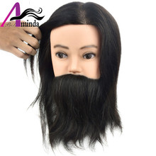 wholesale 100% Human Hair male training mannequin head with beard, cheap price wig head with mustache for Hairdresser barber(China)