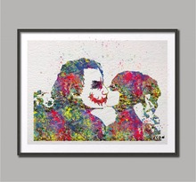 Original Watercolor Harley Quinn Joker Kiss wall art poster print Picture canvas painting home decoration sticker Christmas gift