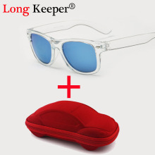 Long Keeper Brand Design Cool 6-15 Years Kids Sunglasses Transparent Frame Sun Glasses for Children Coating Lens With Good Case