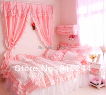 Princess rustic lace ruffle bedding sets king queen size duvet cover finished window decoration curtain home bedroom curtains