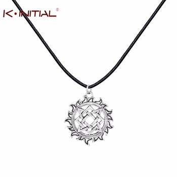 Kinitial 1Pcs Leather Necklace Jewelry For Women Antique Silver Svarog Square Pendants Talisman Pagan Necklace Best Necklaces
