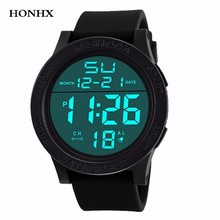 HONHX Fashion Waterproof Men's Watch Digital Stopwatch Date Rubber Sport Men Wrist Watch LED electronic Mens Clock Relogio Y25