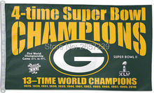 Bay Packers 4 Time Super Bowl Champions Flag 3x5FT NFL banner150X90CM 100D Polyester brass grommets custom flag, Free Shipping(China)
