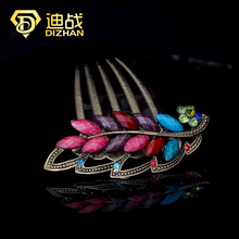 Vintage Hair Accessories Colorful Rhinestone Vintage Colorful Resin Large Leaf Hair Combs for women Hair Jewelry