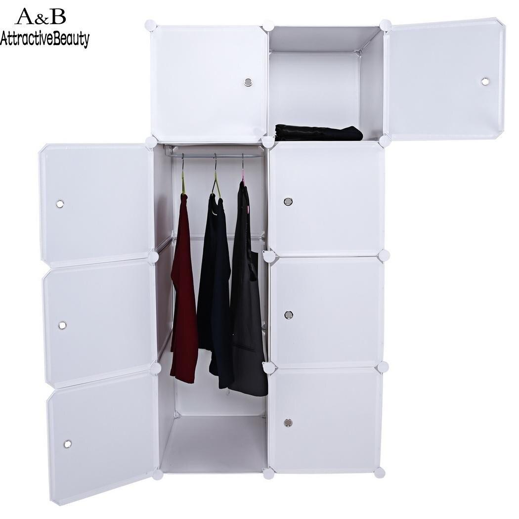 Homdox Folding Combination Cube Cupboard Cabinet Closet Storage Organizer 2 Column  4 Layer DIY Bedroom Book Toy Cabinets N40*<br>