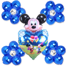 5pcs foil balloons blue items mickey heart balloons with flowers for children happy birthday balloons mickey party globos