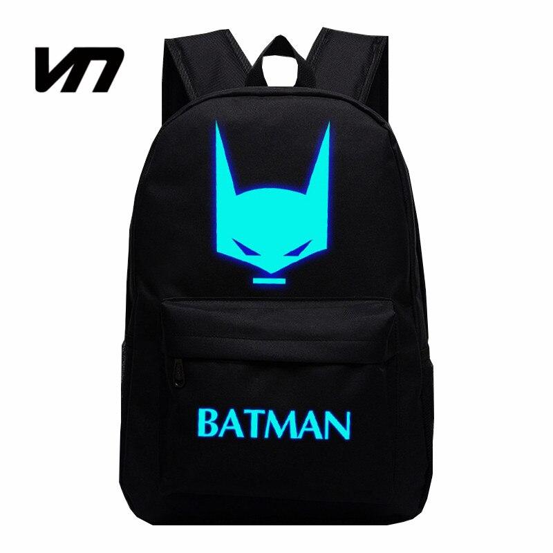 VN Brand Cartoon Super Hero Batman Backpacks Night Luminous Effect Fluorescence Backpack For Students School Bags Kids Backpacks<br><br>Aliexpress