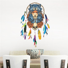 Dream Catcher Flying Feathers Wall Sticker Indian Home Decor Bedroom Living room Wall Decals Art Poster Mural