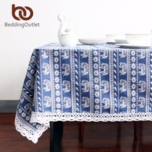 BeddingOutlet Blue Elephant Cartoon Tablecloth Cotton Linen Dinner Table Cloth Macrame Decoration Lacy Table Cover Washable Hot