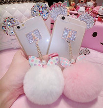 For iPhone 5 6 7 8 Plus For Samsung note 3 4 5 S5 S6 S7 edge S8 Plus Crystal Mouse Head Bowknot Fur Ball Soft Phone Back Cover(China)