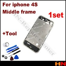 1set No Scratch Silver Bezel Middle Frame Chassis Housing Plate Mid Board for iPhone 4S 4GS + open tool