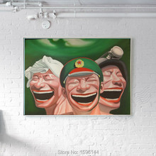 Hand-painted Oil Painting canvas Chinese painter Yue Minjun Painting Modern Home Decoration Art Wall Picture Happy face