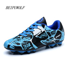 Men Soccer Shoes 2016 Sport Football Shoes Man Boys Kids Outdoor Long Spikes FG Football Sneakers Athletic Training Shoes