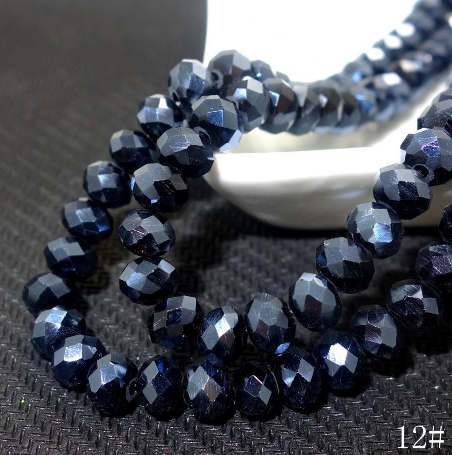 8mm Round Glass Beads Strands Black approx 40 pcs//strand jewellery making