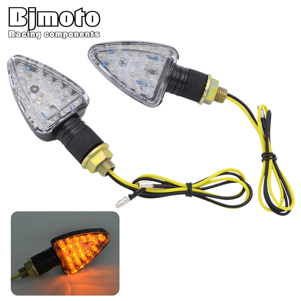 BJGLOBAL Pair New Universal LED Motorcycle Turn Signal Lights Flashing Motocross Indicator light For Honda Yamaha Suzuki KTM