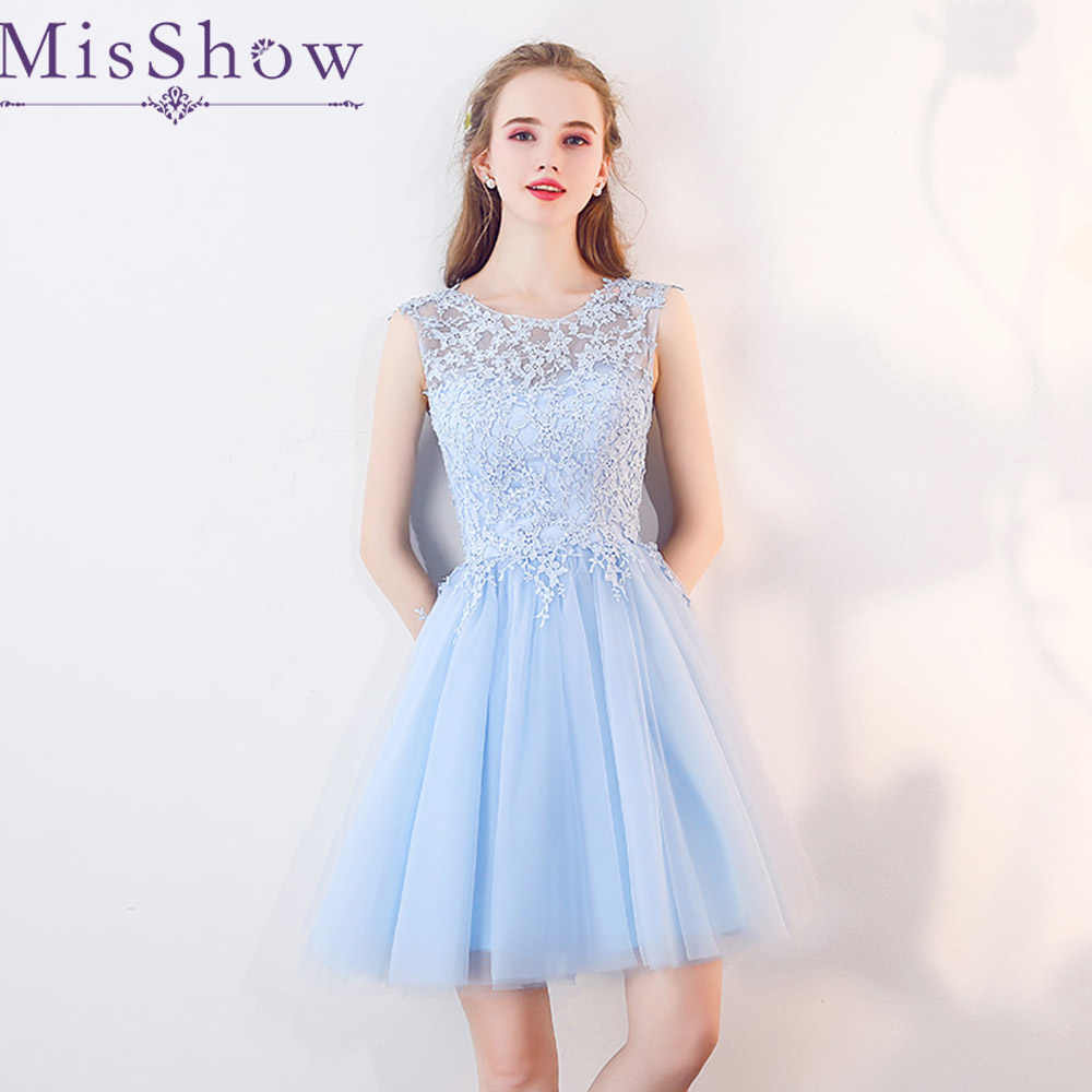 elegant cocktail dress 2019 Tulle Applique Sky blue Short Prom Dress Party  Cocktail Dresses Sleeveless Vestidos 14a06c3a1aba