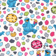 140X100cm Sesame Street Cookies Colorful Spots White Cotton Fabric for Baby Girl Clothes Sewing Bedding Set Patchwork-AFCK519