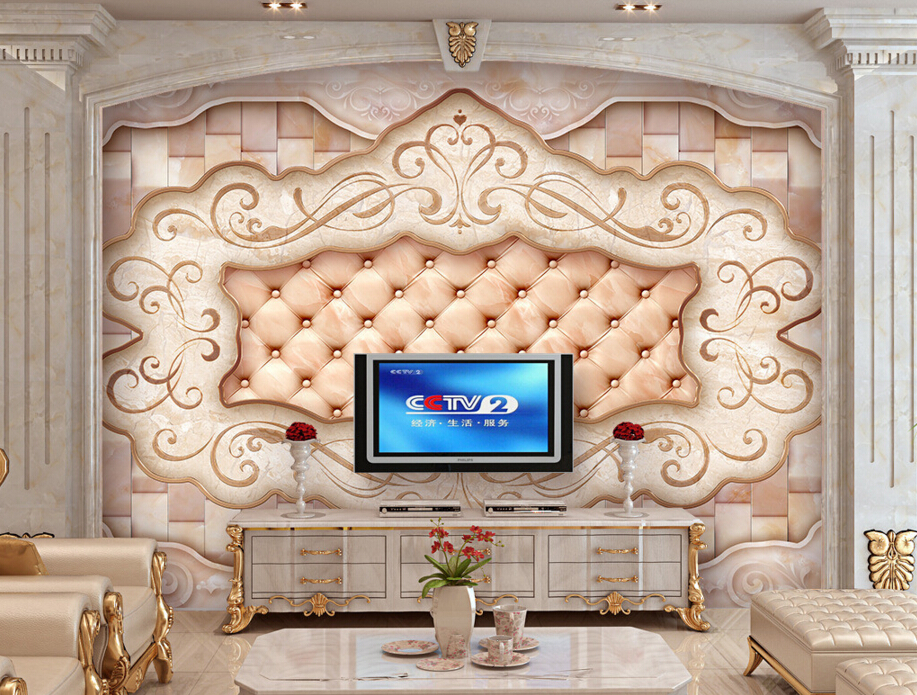 Custom papel DE parede 3d, Art tiles pattern,vintage European-style mural for living room bedroom TV backdrop embossed wallpaper<br><br>Aliexpress
