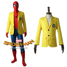 Cosplaydiy Spider-Man Homecoming Cosplay Peter Parker Yellow Jacket Halloween costumes Spiderman suit Cosplay Coat Custom Made