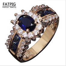 New Classic Engagement Ring18K Gold Filled Blue Luxury Zircon Lovers Promise Ring for Women Size6-12 Wedding Rings