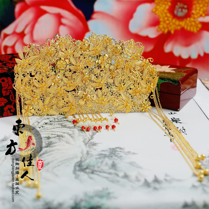 Gold Beads Bride Wedding Hair Tiaras Xiuhefu<br>