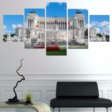 5 Panels Rome Italy City Monuments HD Oil Printed Painting Building Painting Living Room Customized Canvas Wall Picture Poster