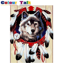 DIY Oil Painting by Numbers with Frame Drawing Kits Paint on Canvas Painting Unique for Home Wall Art Picture Wolf P-0738(China)