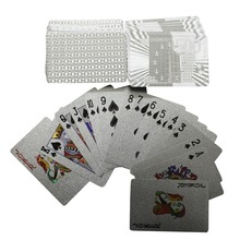 Durable Silver Playing Cards Foil Poker Set Magic Plastic Silver Foil Luxury Gift Waterproof Euro US Dollar Design Game Cards