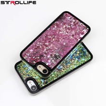 STROLLIFE Side Drilling Dynamic Liquid Hearts Quicksand Soft TPU Frame Mobile Phone Case Back Cover For iPhone 7 6 6S Plus Cases(China)