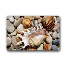 Memory Home Seashell and Pebble Stone Custom Machine Washable Non-slip Rubber Backing Indoor Outdoor Doormat Floor Mat