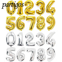 32inch Gold Silver Number Balloon Aluminum Foil Helium Balloons Birthday Valentines Day Wedding Party Supplies Decoration Orbs(China)