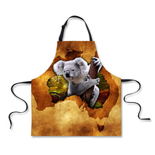 FORUDESIGNS Fashion Funny Chef Apron Cute Koala Kangaroo Novelty Aprons for Women Designer Men Kitchen Cooking BBQ Party Design
