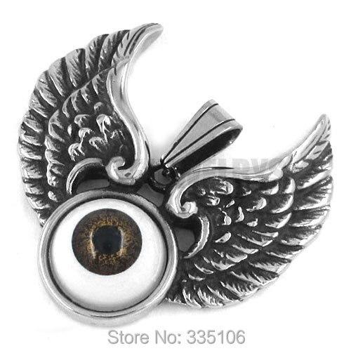 Free shipping! Eagle Wings Brown Devil Eye Pendant Stainless Steel Jewelry Punk Motor Biker Pendant SWP0248 bald eagle